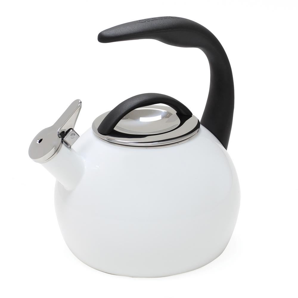 Anniversary 8-Cups Enamel-on-Steel Glossy White Tea Kettle