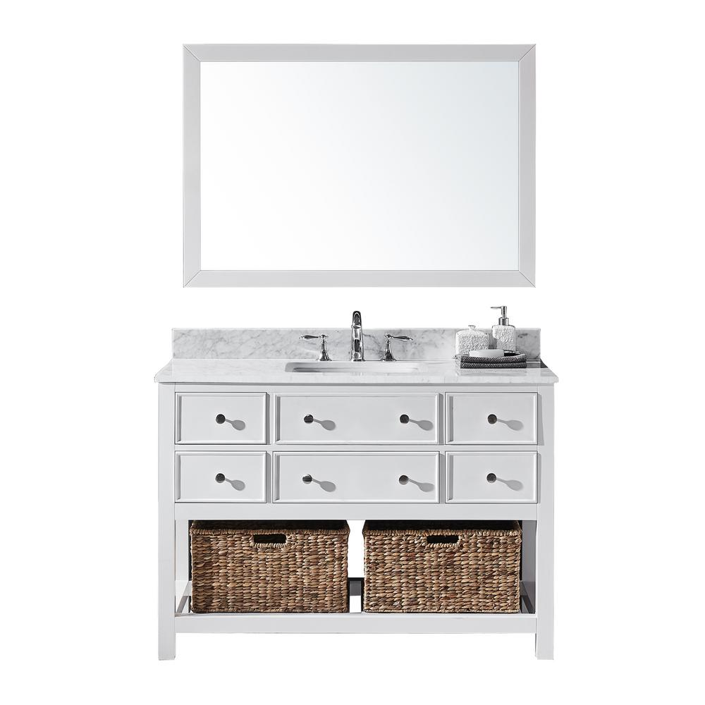 Exclusive Heritage Elodie 48 in. W x 22 in. D x 34.21 in. H Bath Vanity in White With White Marble Top With White Basin and Mirror