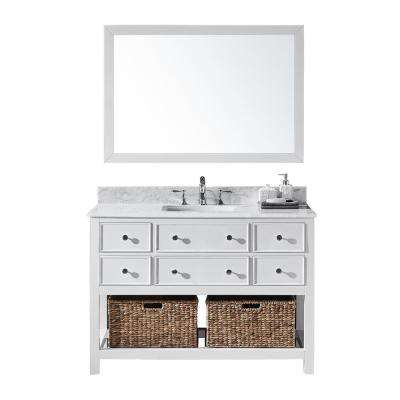 Elodie 48 in. W x 22 in. D x 34.21 in. H Bath Vanity in White With White Marble Top With White Basin and Mirror