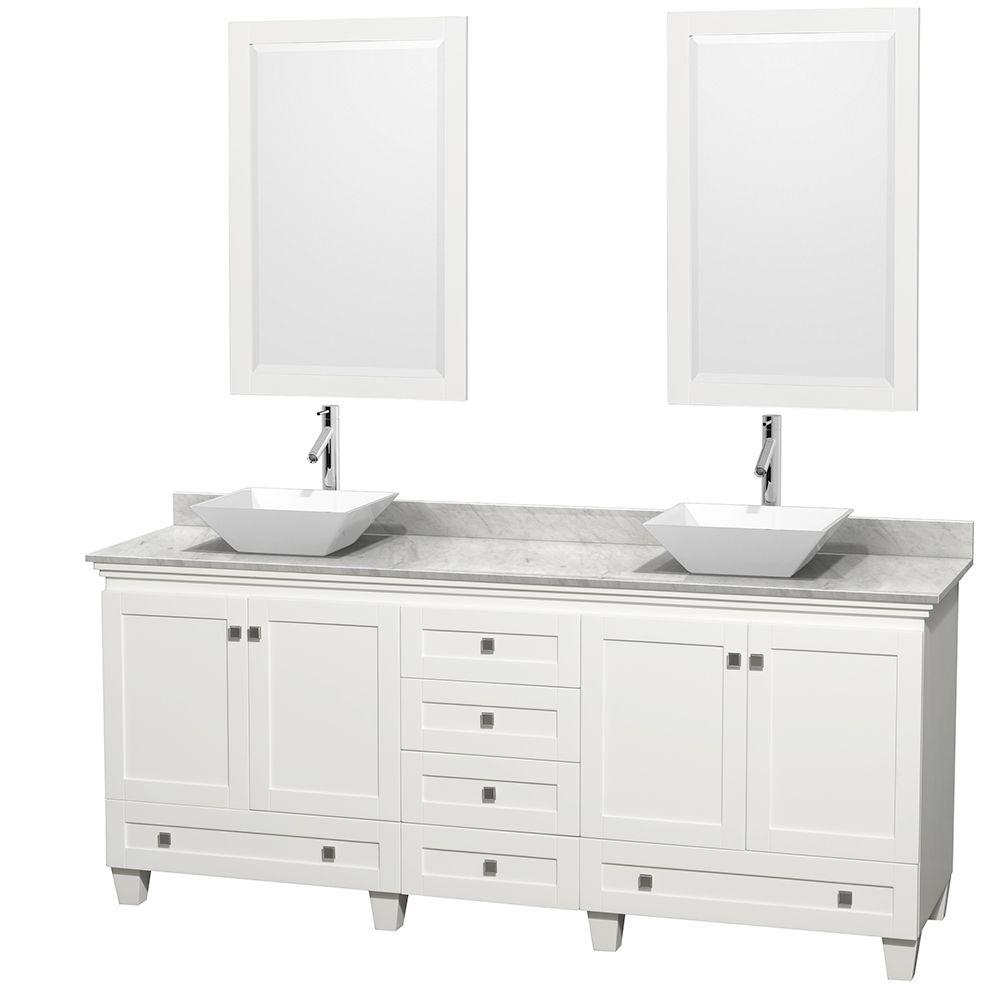 Wyndham Collection Acclaim 80 in. W Double Vanity in White with Marble Vanity Top in Carrara White, White Sinks and 2 Mirrors