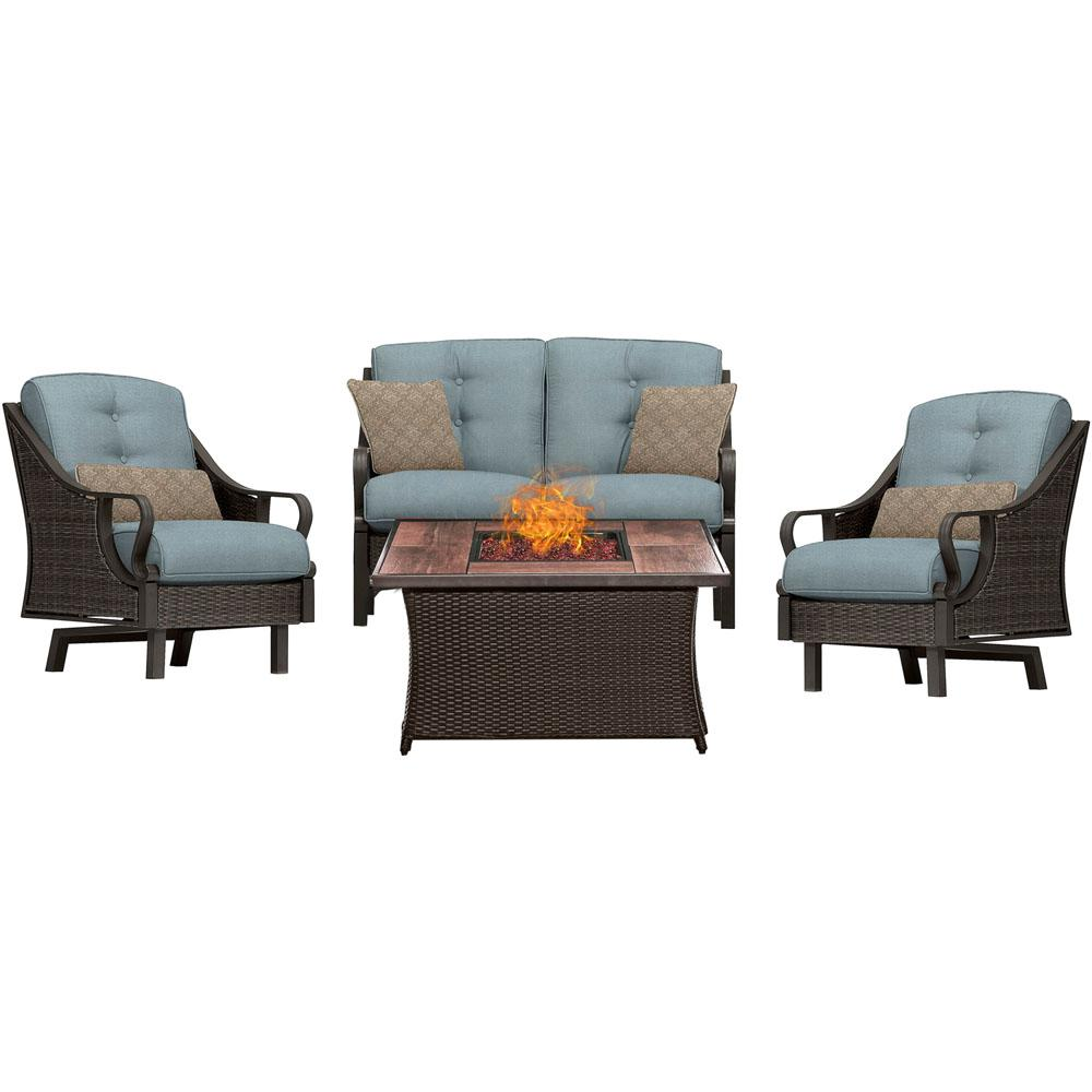 Hanover Ventura 4 Piece All Weather Wicker Patio Conversation Set With Wood  Grain