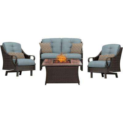 Ventura 4-Piece All-Weather Wicker Patio Conversation Set with Wood Grain-Top Fire Pit with Ocean Blue Cushions
