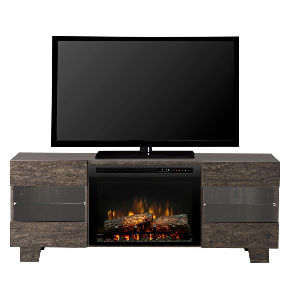 "Max 62"" Freestanding Electric Media Console in Elm Brown"