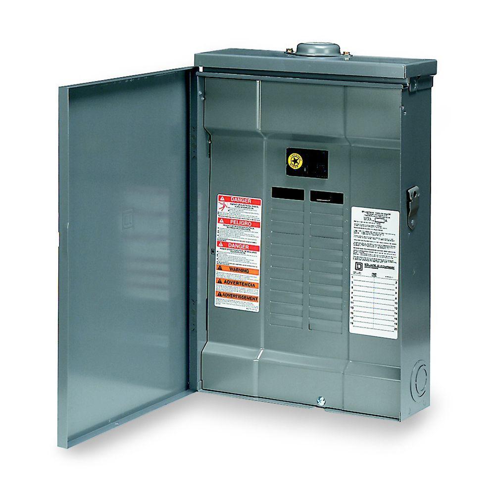 Square d qo 100 amp 20 space 20 circuit outdoor main for Bathroom 20 amp circuit