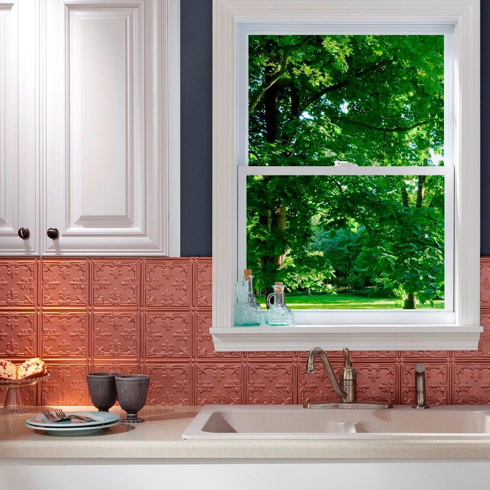 Fasade 24 in. x 18 in. Traditional 10 PVC Decorative Backsplash Panel in Argent Copper