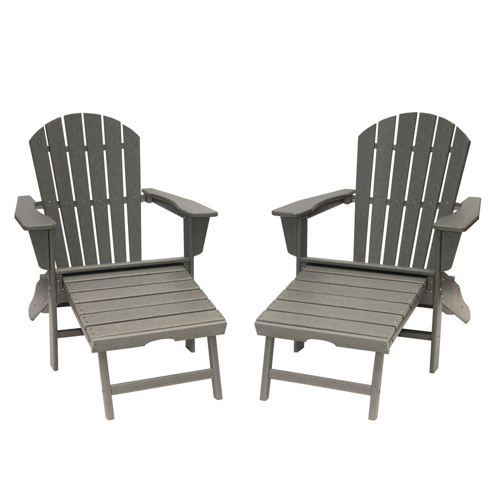 Plastic Adirondack Chairs With Ottoman.Luxeo Hampton Gray Plastic Outdoor Patio Adirondack Chair With Hideaway Ottoman 2 Pack