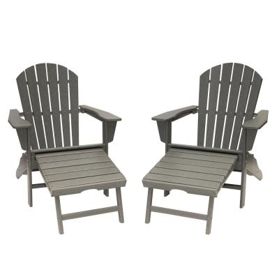 Hampton Gray Plastic Outdoor Patio Adirondack Chair with Hideaway Ottoman (2-Pack)