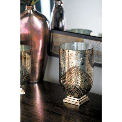 10 in. Distressed Silver Linear Patterned Cup-Shaped Glass Candle Holder
