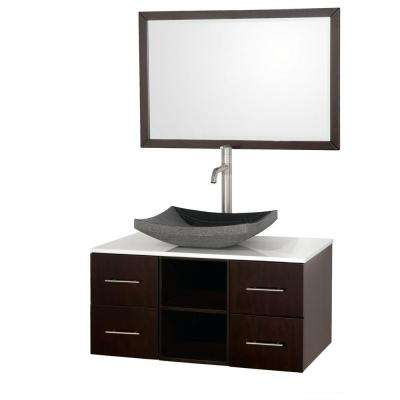 Abba 36 in. Vanity in Espresso with Glass Vanity Top in White and Mirror