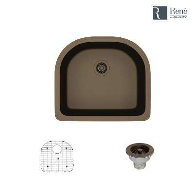 Undermount Composite Granite 24-3/4 in. Single Bowl Kitchen Sink in Umber
