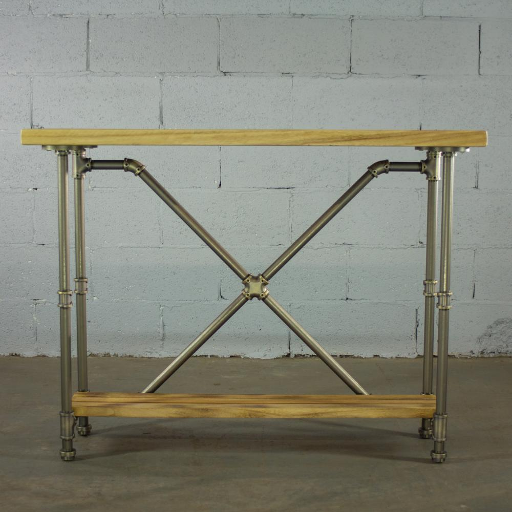 Rustic Brass Industrial Pipe 2-Tier Console Sofa Hall Table with Reclaimed
