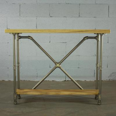 Rustic Brass Industrial Pipe 2-Tier Console Sofa Hall Table with Reclaimed Aged Wood