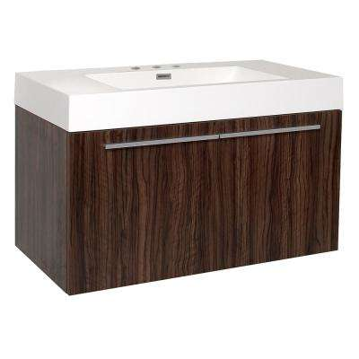 Vista 36 in. Bath Vanity in Walnut with Acrylic Vanity Top in White with White Basin