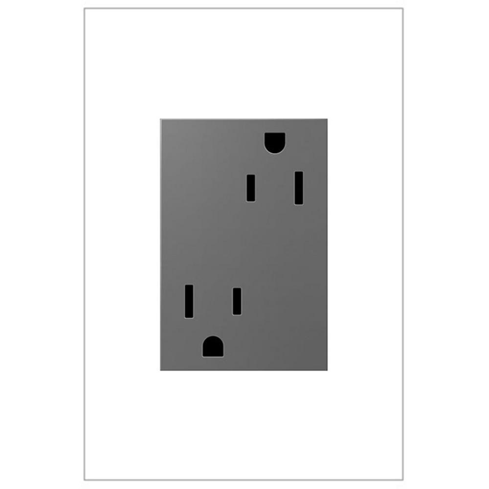 Legrand Adorne 15 Amp 125 Volt Safety Zone Tamper Resistant Plus Size Duplex Outlet Magnesium Artr153m4 The Home Depot