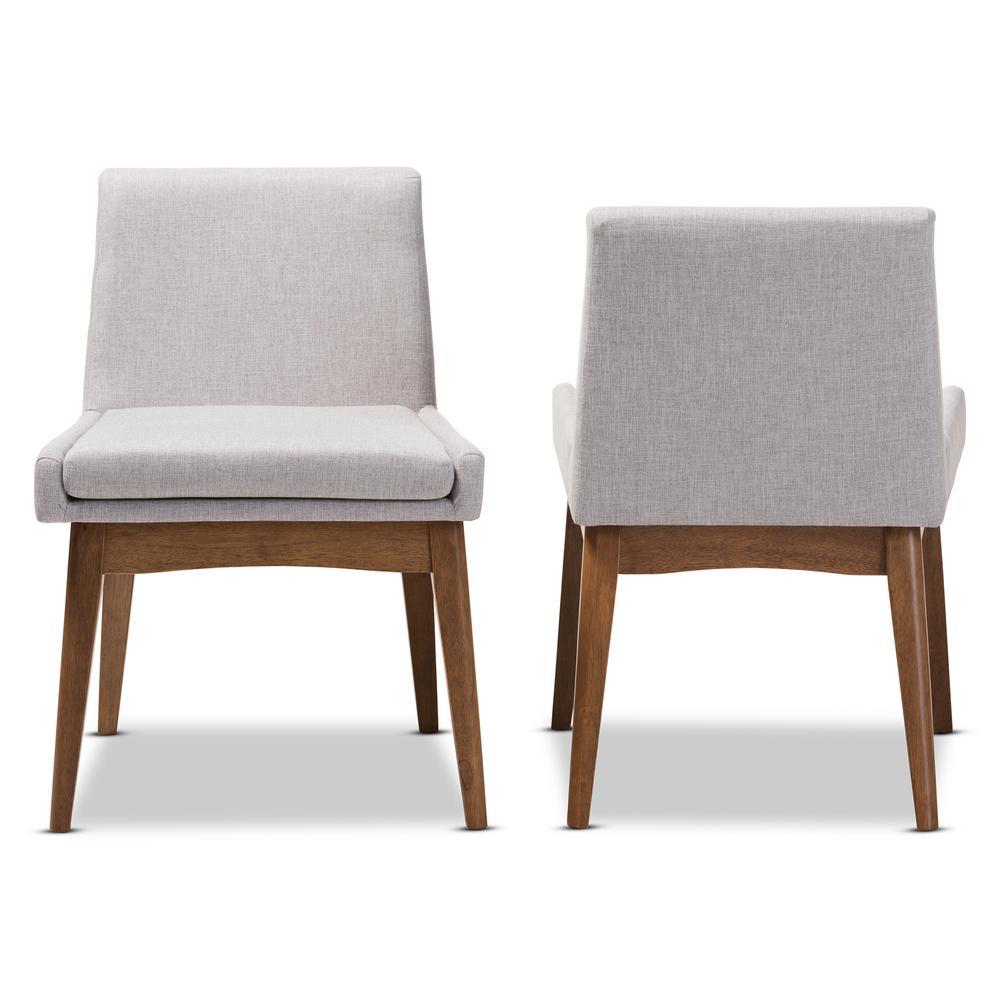 Baxton studio nexus greyish beige walnut brown fabric dining chair set of 2