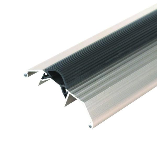M D Building Products Deluxe High 3 3 4 In X 26 1 2 In Satin Nickel Aluminum Threshold With Vinyl Seal 99051026500 The Home Depot