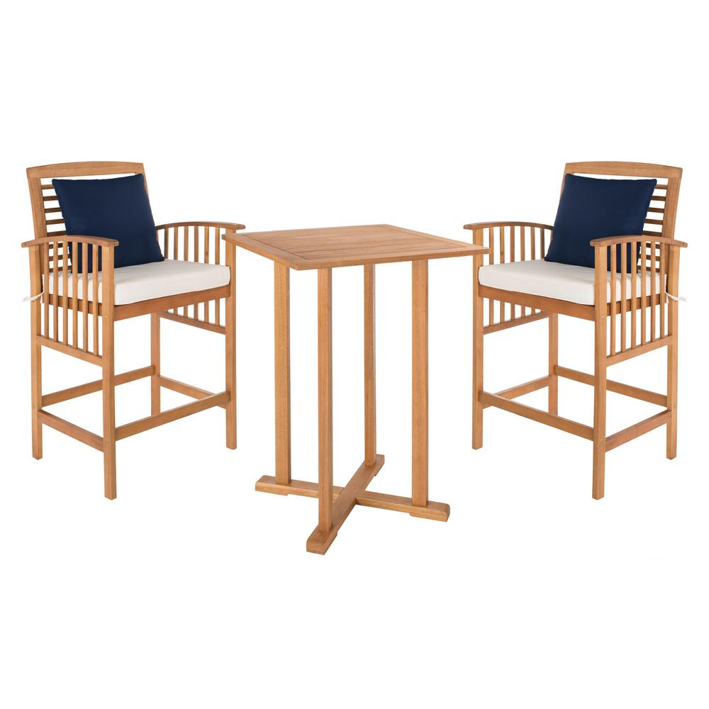 Astounding Safavieh Pate Natural Brown 3 Piece Wood Outdoor Bistro Set With White Cushions Gmtry Best Dining Table And Chair Ideas Images Gmtryco
