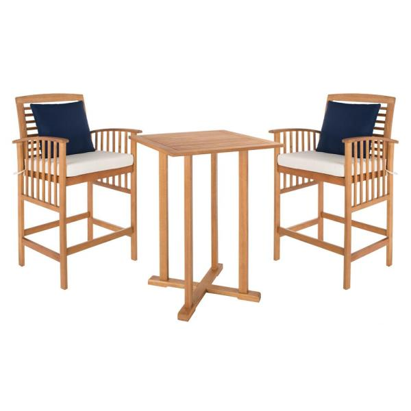 Pate Natural Brown 3-Piece Wood Outdoor Bistro Set with White Cushions