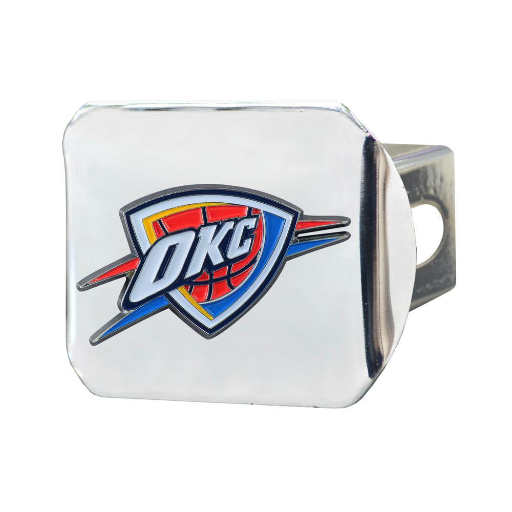 NBA Oklahoma City Thunder Color Emblem on Chrome Hitch Cover
