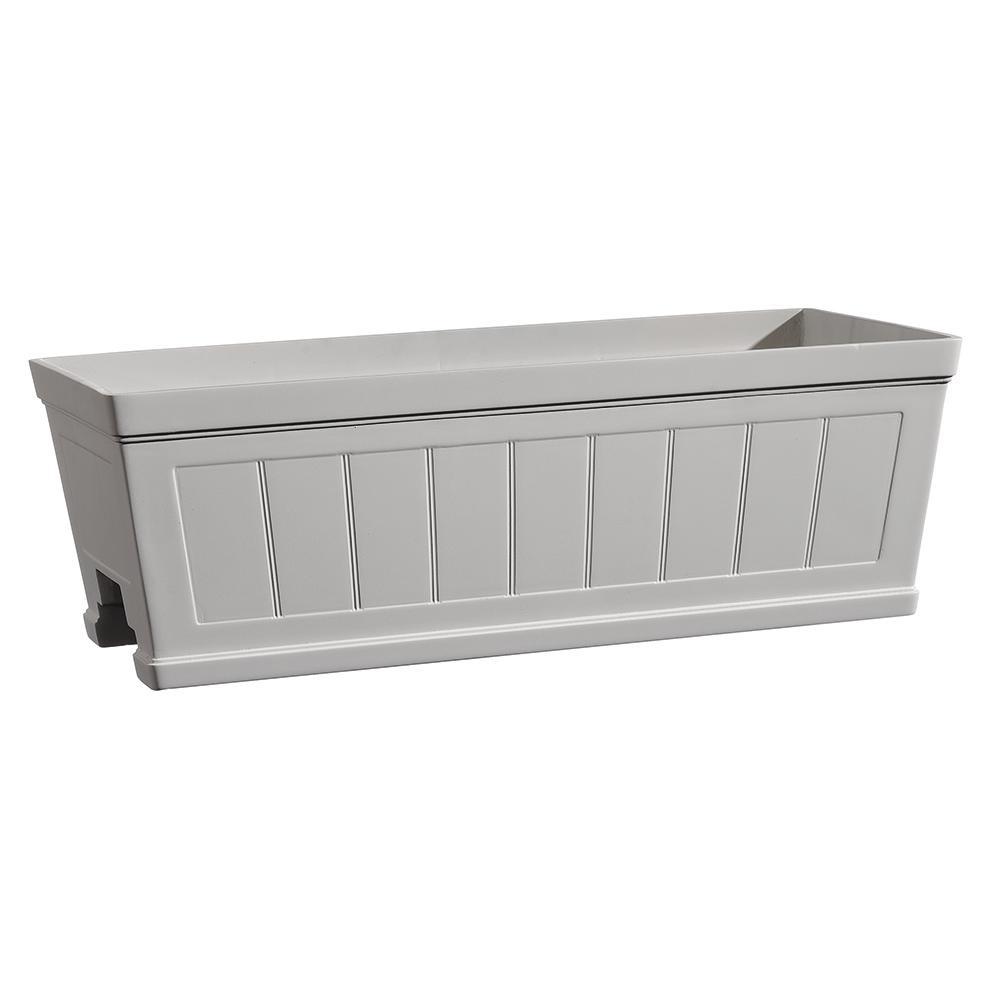 Hanover 27 in. White Resin Beadboard Deck Rail Window Box