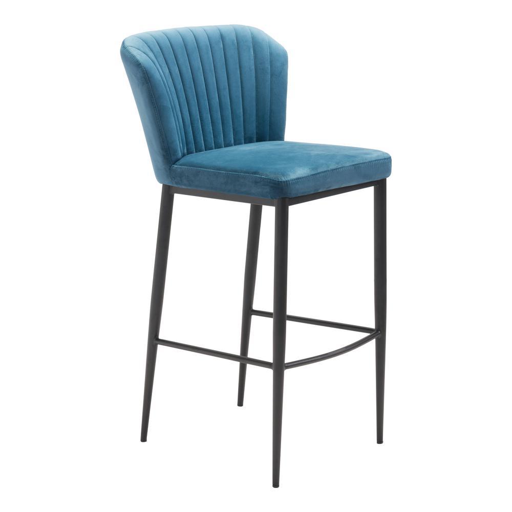 Tolivere 41.3 in. Blue Velvet Bar Chair (Set of 2)