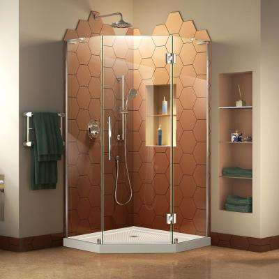 Prism Plus 42 in. x 42 in. Frameless Neo-Angle Hinged Shower Enclosure in Chrome and Biscuit Neo-Angle Shower Base