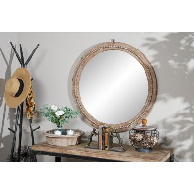 Medium Rectangle Natural Wood Brown Casual Mirror (36 in. H x 36 in. W)