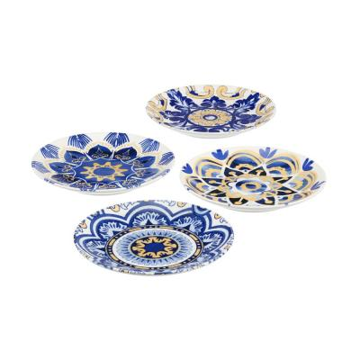 Lisbon 4-Piece Twilight Blue and Mustard Yellow Salad Plate Set (Service for 4)