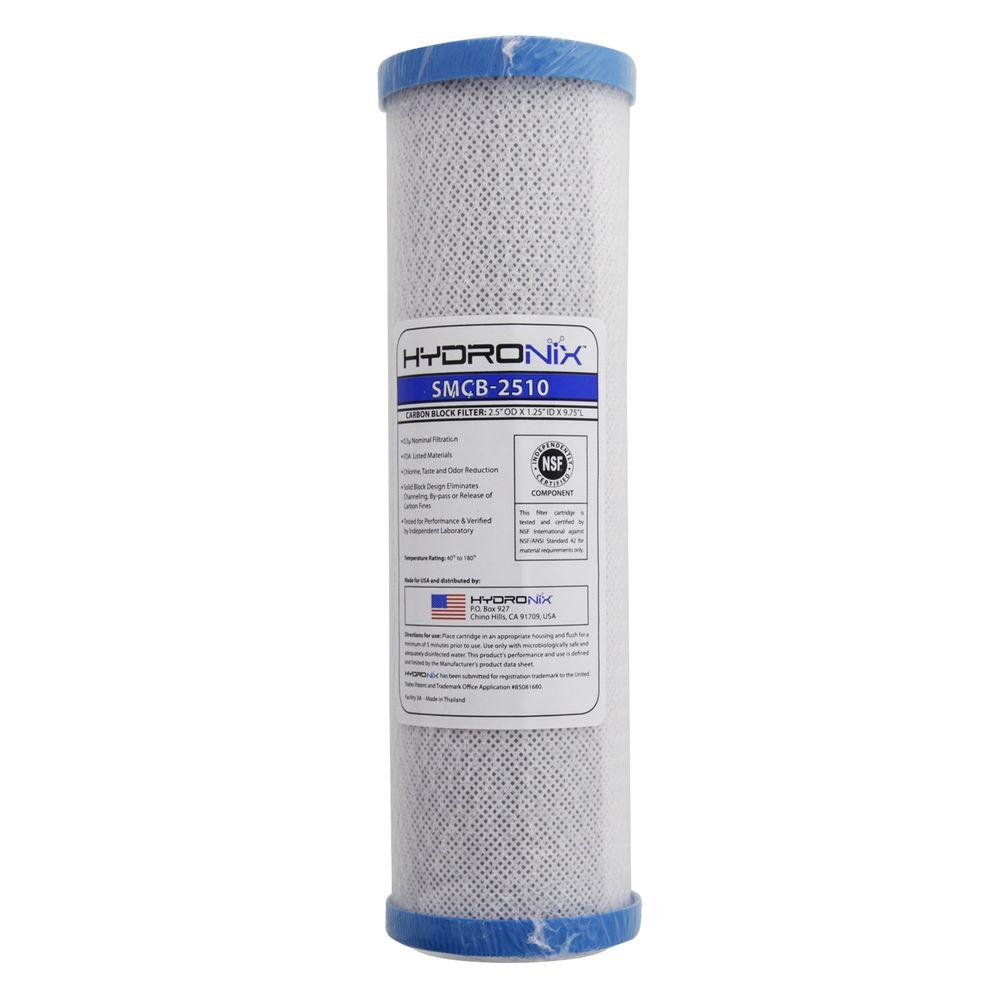 Hydronix Smcb 2510 Nsf 2 5 In X 9 7 8 In 0 5 Micron Carbon Block Filter Hydronix Smcb 2510 The Home Depot