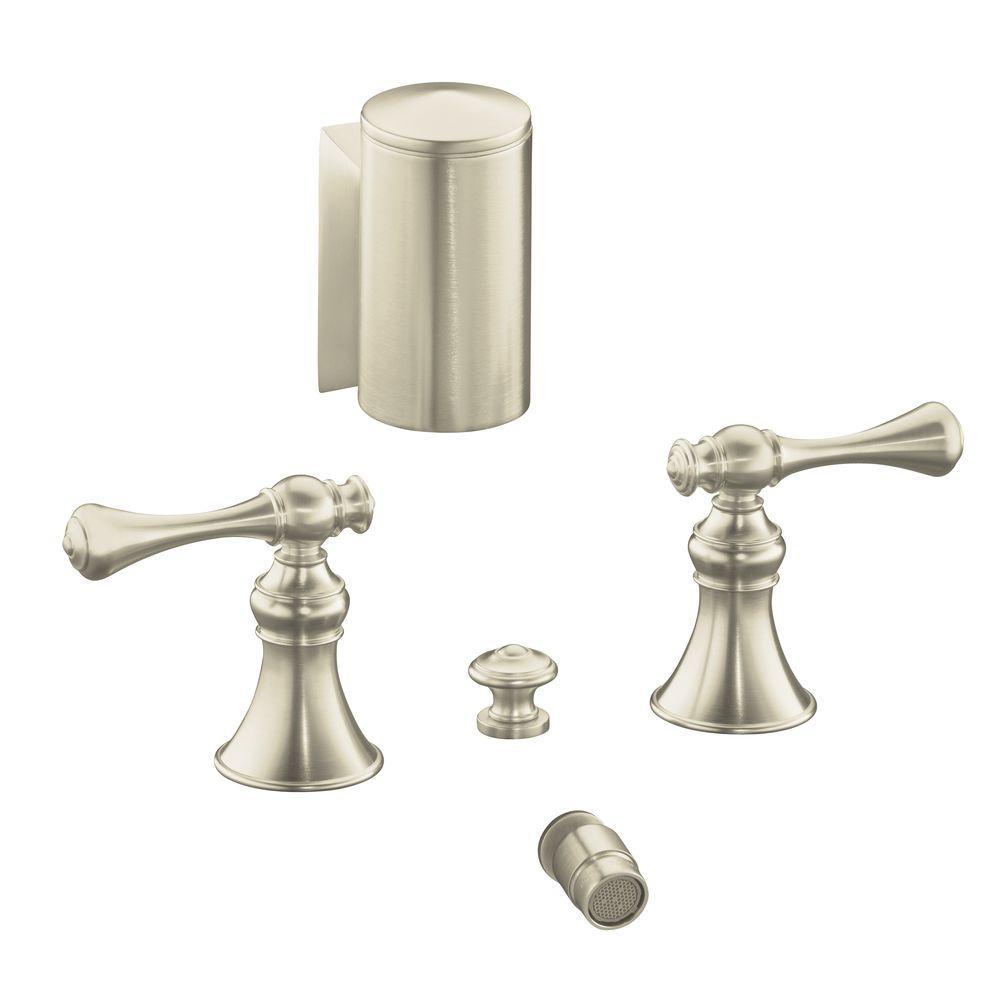 Revival 2-Handle Bidet Faucet in Vibrant Brushed Nickel with Below-the-Rim Swivel Spray