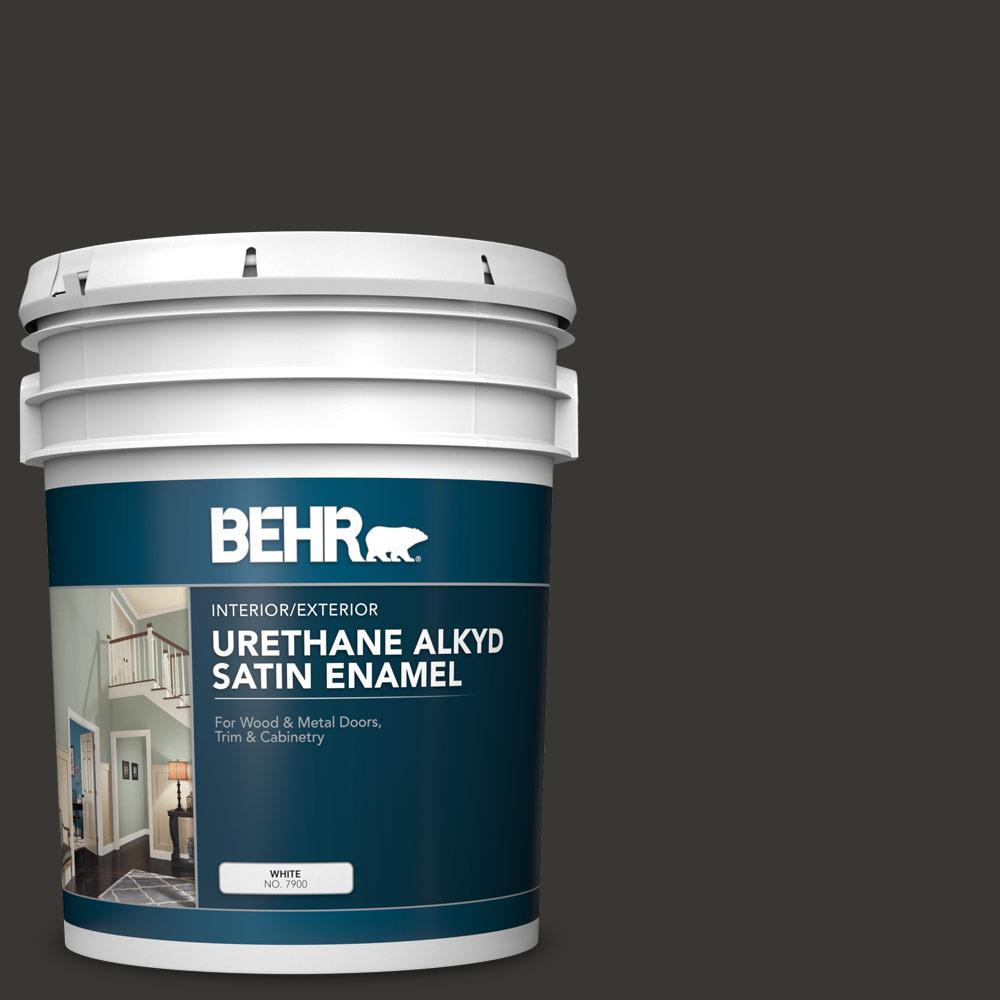 BEHR 5 gal. Black Urethane Alkyd Satin Enamel Interior/Exterior Paint