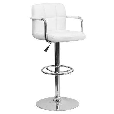 33.25 in. Adjustable Height White Cushioned Bar Stool