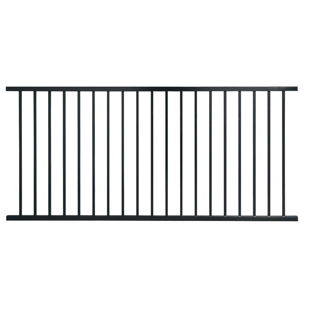 First Alert Pro Series 3 ft. H x 8 ft. W Black Galvanized Steel 2-Rail Fence Panel (2-pack)
