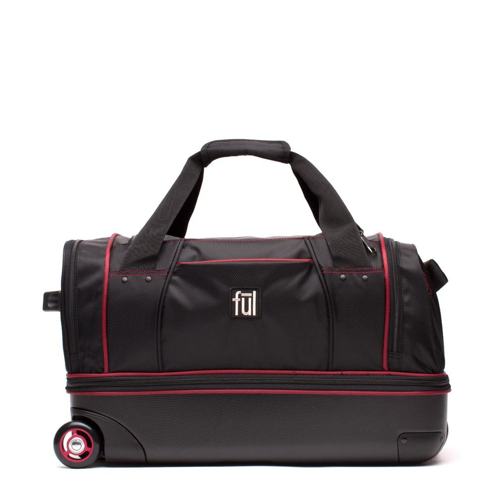 Ful Flx 28 In Black Hybrid Rolling Duffel Bag Retractable Pull Handle Split Level Storage