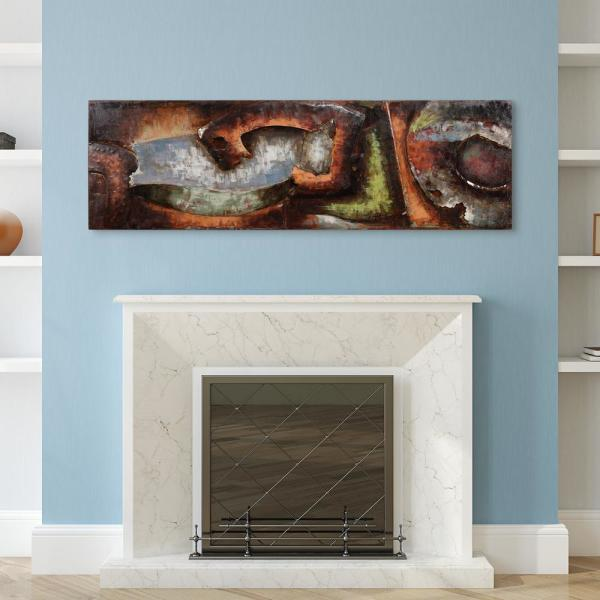 22 in. x 72 in. ''Convergence 1'' Mixed Media Iron Hand Painted Dimensional Wall Art