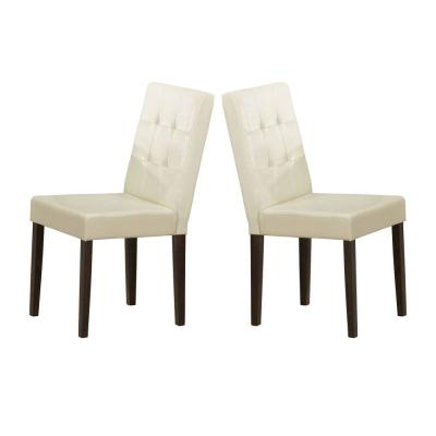 Cream and Brown Wooden with Leatherette Upholstered Seat Side Chair (Set of 2)