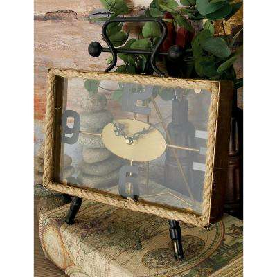 13 in. x 12 in. Rustic Iron and Rope Rectangular Table Clock