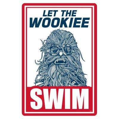 12 in. x 18 in. Star Wars Let the Wookie Swim Pool Sign
