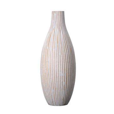 15 in. White Decorative Handmade Bottle Mango Wood Vase