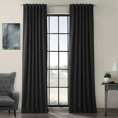 Semi-Opaque Jet Black Blackout Curtain - 50 in. W x 84 in. L (Panel)