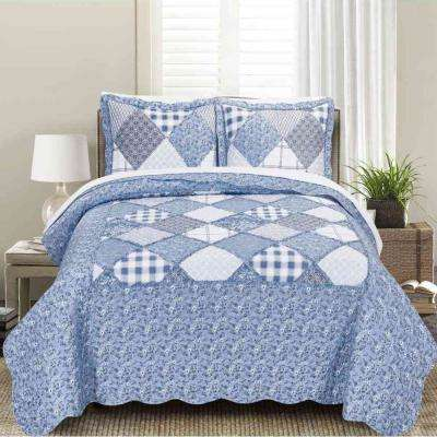 MHF Home Isabella Floral and Plaid Patchwork King Quilt Set (3-Piece)