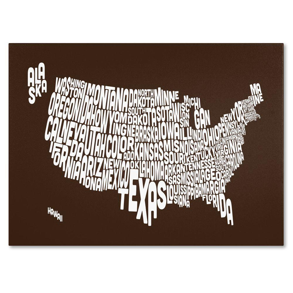 Trademark Fine Art 16 in. x 24 in. USA States Text Map - Chocolate Canvas Art