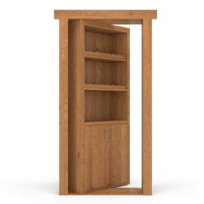 36 in. x 80 in. Flush Mount Assembled Alder Natural Stained Right-Hand Outswing Wine Rack Door