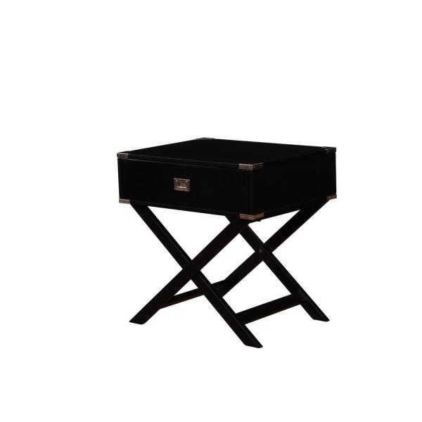 Linon Home Decor Sara X-Base Black Accent Table