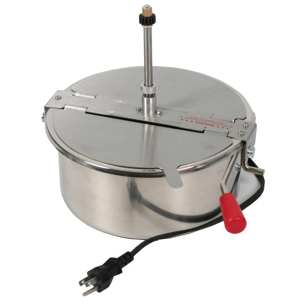Great Northern 12 oz. Popcorn Kettle, Stainless The Great Northern Popcorn Company Popcorn Kettle. An industry leading 12 oz. kettle operating on 1350-Watt (Commercial Quality and Certified). These kettles have been tested an guaranteed to work with your compatible Great Northern Popcorn machine. Please note, it is critical that you review the attached link which shows you how to order the correct kettle for your popcorn machine. This kettle has a 3-prong power cord style plug attached to the kettle. This will plug into the roof of your popcorn machine. Color: Stainless.