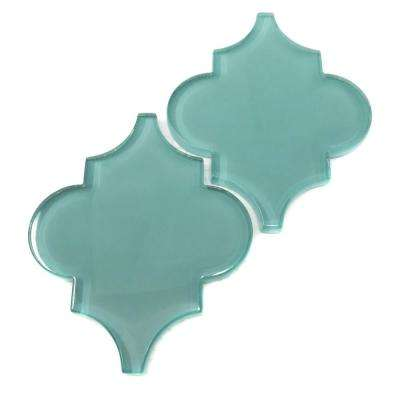 Teal Arabesque 4 in. x 5 in. x 8mm Glass Backsplash and Wall Tile (0.16 sq. ft. / each)