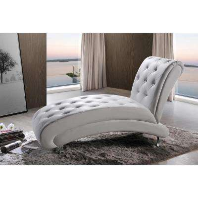 Pease Glam White Faux Leather Upholstered Chaise