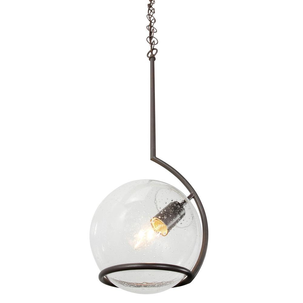 Watson 1-Light Metallic Bronze Mini-Pendant with Clear Seedy Glass