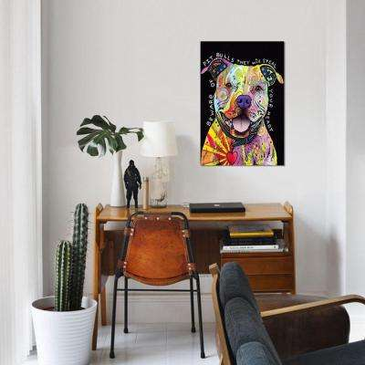 """18 in. x 12 in. Beware of Pit Bulls by """"Dean Russo"""" Printed Canvas Wall Art"""