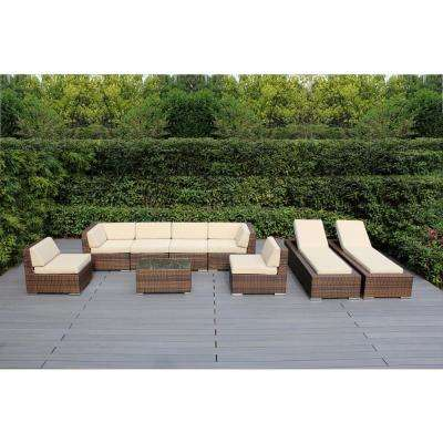Mixed Brown 9-Piece Wicker Patio Combo Conversation Set with Spuncrylic Beige Cushions